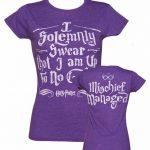 Women's Purple Harry Potter I Solemnly Swear Mischief Managed T-Shirt With Back Print