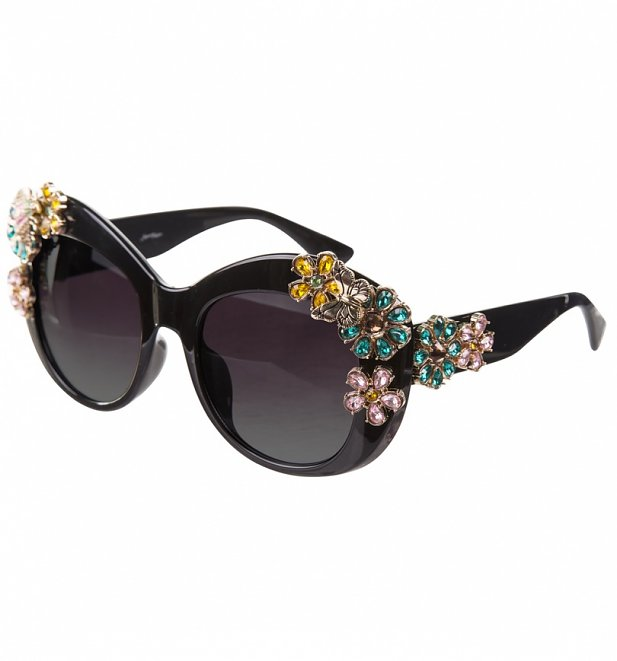 ad476fd5f5 Black Oversized Sunglasses With Floral Embellishment from Jeepers Peepers