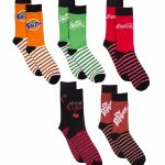 Classic Coke, Cherry Coke, Fanta, Dr Pepper & Sprite Set of 5 Socks