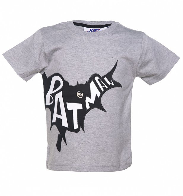 033f3d26ee8 Kids Grey DC Comics Batman Applique T-Shirt from Fabric Flavours ...