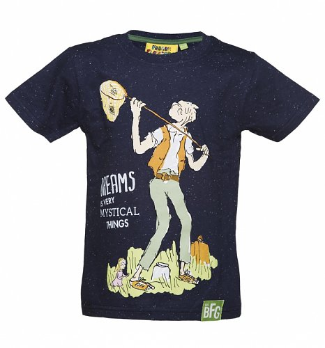 4a70711d444 Kids Navy Roald Dahl BFG Dreams T-Shirt from Fabric Flavours | Retro ...