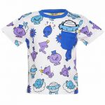 Kids White And Blue Mr Men Repeat Print T-Shirt from Fabric Flavours