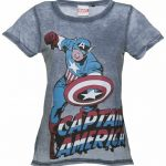 Women's Blue Burnout Captain America Marvel Comics T-Shirt