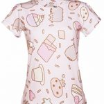 Women's Pusheen Sweet Treats All Over Print Rolled Sleeve T-Shirt