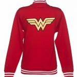 Women's Red DC Comics Wonder Woman Logo Varsity Jacket