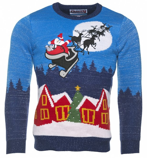 Take a magical sleigh ride with this awesome Christmas jumper! This light  up Xmas treat is knitted in a bold bright blue with a sparkly silver fleck. - Light Up Sparkly Knitted Sleigh Ride Christmas Jumper From Cheesy