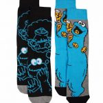 Men's 2pk Cookie Monster Sesame Street Socks