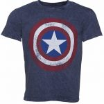 Men's Blue Snow Wash Marvel Comics Captain America Distressed Shield T-Shirt
