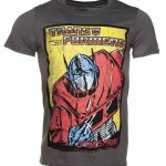 Men's Charcoal Transformers Optimus Prime Comic T-Shirt