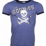 Men's Foil Print Goonies Skull and Crossbones Ringer T-Shirt