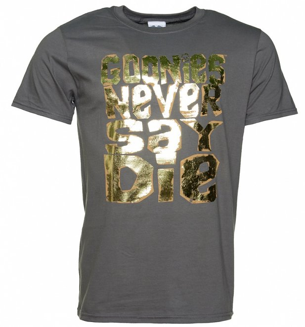 af2eb1e18 Men's Gold Foil Print Goonies Never Say Die Charcoal T-Shirt | Retro ...