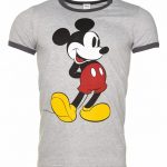 Men's Grey Marl Classic Mickey Mouse Disney Ringer T-Shirt