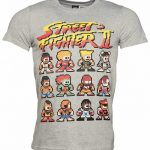 Men's Grey Marl Retro Street Fighter II Pixel Characters T-Shirt