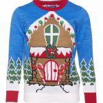 Retro Light Up Gingerbread House Christmas Jumper With Pom Poms from Cheesy Christmas Jumpers