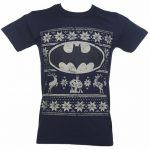 Men's Navy DC Comics Batman Fair Isle Christmas T-Shirt