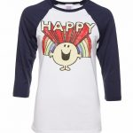 Retro Mr Happy Raglan Baseball T-Shirt