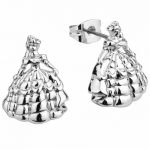 White Gold Plated Beauty & The Beast Princess Belle Stud Earrings from Disney Couture