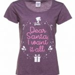 Women's Barbie Dear Santa I Want It All Heather Purple Scoop Neck T-Shirt