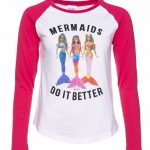 Women's Barbie Mermaids Do It Better White and Hot Pink Baseball T-Shirt