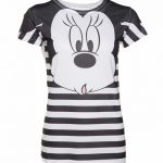 Women's Black And White Stripe Disney Minnie Mouse Sublimation T-Shirt
