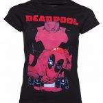 Women's Black Deadpool Holding Head T-Shirt