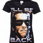 Women's Black I'll Be Back Terminator Scoop Neck T-Shirt
