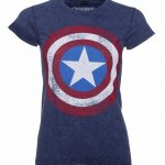 Women's Blue Snow Wash Marvel Comics Captain America Distressed Shield T-Shirt
