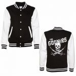 Women's Foil Print Goonies Skull and Crossbones Varsity Jacket