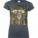 Women's Gold Foil Print Goonies Never Say Die Dark Heather T-Shirt