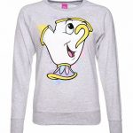 Women's Grey Marl Beauty And The Beast Disney Chip Splatter Sweater