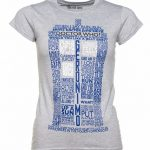 Women's Grey Marl Doctor Who TARDIS Quotes T-Shirt