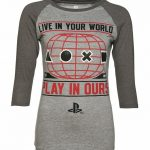 Women's Grey Marl PlayStation Baseball T-Shirt