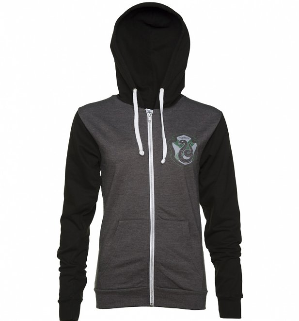 Harry Potter Women/'s Slytherin Distressed Crest Hoodie