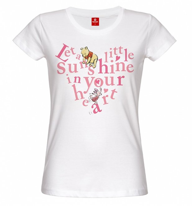 fe63264d8 This adorable tee is sure to appeal to any fan of the Disney character,  Winnie The Pooh! With the cute quote, Let A Little Sunshine In Your Heart,  ...