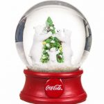 Coca-Cola Polar Bears And Christmas Tree Snow Globe