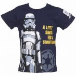 Kids Navy Star Wars Little Short For A Stormtrooper T-Shirt from Fabric Flavours